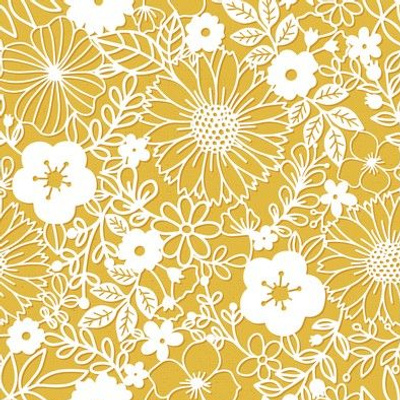 Papercut Floral in Mustard - small scale