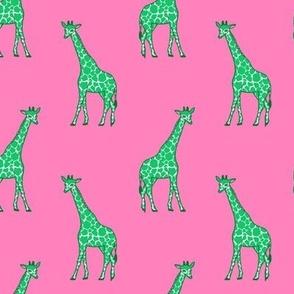Giraffe Half-Drop Pink Green