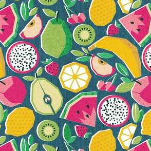 Small scale // Paper cut geo fruits // teal background multicoloured geometric fruits