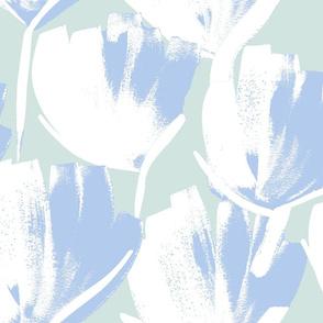 Jumbo Flowers cornflower blue on seafoam green