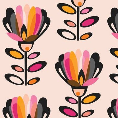 Paper Cut Mid Century Flowers