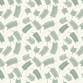 Dark mint foliage and lines // Scattered leaves with dashes