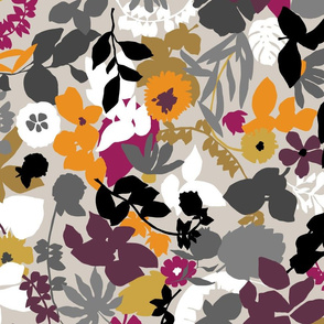 foliage grey burgundy mustard orange black white