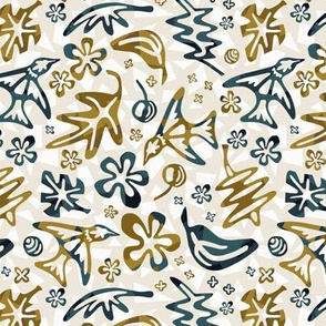 Hummingbird Garden Cut Out - Denim, Ochre - Small