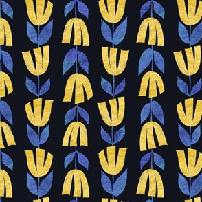 Row by row - Paper-cut flowers - yellow and blue florals