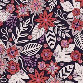Coral, Purple, Lavender & Brick Red Floral Pattern