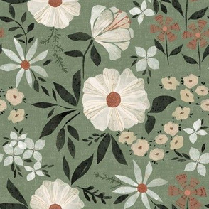 Paper Cut Flower Garden in Sage Green