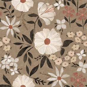 Paper Cut Flower Garden in Rose Brown