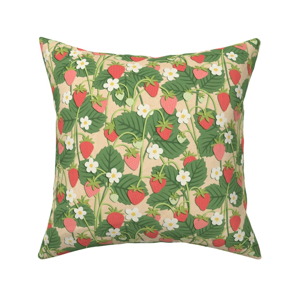 Catalan Throw Pillow featuring Papercut Strawberry Patch on Beige (Small Scale) by moonpuff