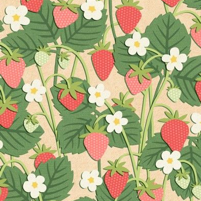 Papercut Strawberry Patch on Beige (Small Scale)