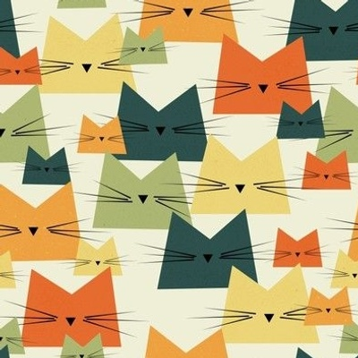 cats - nala cat vintage - geometric cats - cats fabric
