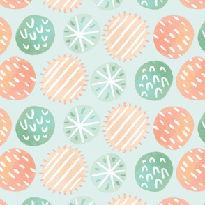 mint and pink dots