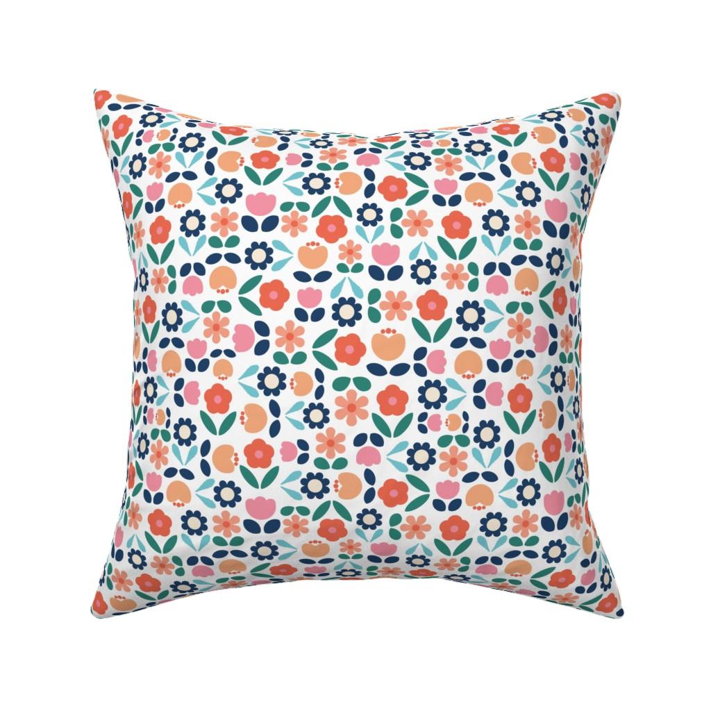 Catalan Throw Pillow featuring Papercut Flower Garden by twigged