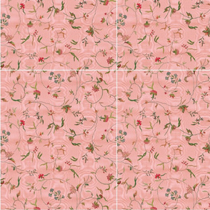 Cecile Embroidered Chintz ~ Dauphine Moire  ~ Mask Template 10 x 12 inches x 12 Cut and Sew