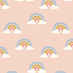 Giant Pastel Rainbow on Blush