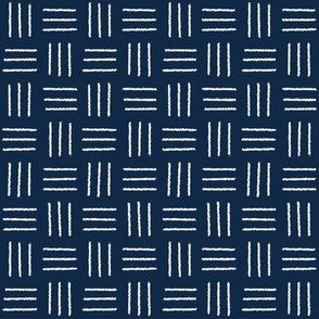 mudcloth basket weave white on navy blue