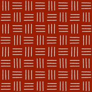 mudcloth basket weave white on red