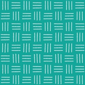 mudcloth basketweave white on teal