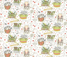 What's in your noodle soup? large scale, white green orange pink coral yellow gray