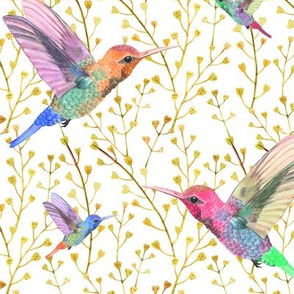 Field Of Watercolor Hummingbirds