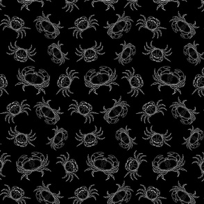 Black & White Crabs Pattern with Black Background (Small Size Print)