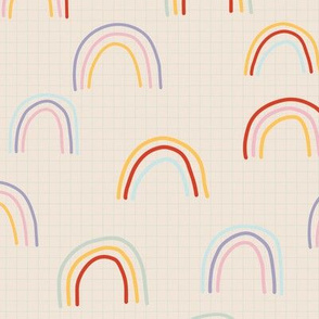 Weeds & Wildflowers: Cream Multicolor Rainbow Grid