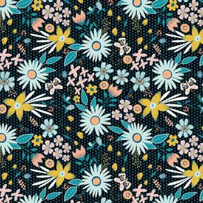 Weeds & Wildflowers: Dark Multicolor Floral & Butterfly