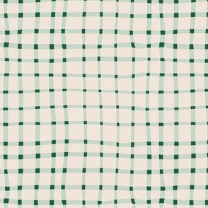 Weeds & Wildflowers: Green & Cream Abstract Plaid