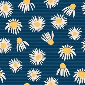 Weeds & Wildflowers: Midnight Blue Daisy Floral Stripe