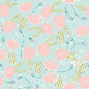 Weeds & Wildflowers: Pink & Blue Poppy Floral