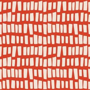 Weeds & Wildflowers: Red & Cream Plank Geometric