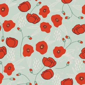 Weeds & Wildflowers: Red & Green Poppy Floral