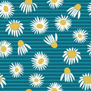 Weeds & Wildflowers: Teal Blue Daisy Floral Stripe