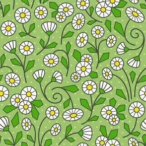 Mod Daisies Green