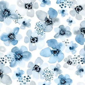 Baby Blue Berry Floral by Angel Gerardo