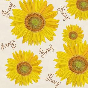 Sunflower pray on off white  large