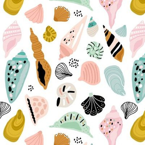 Hand drawn seashells pattern