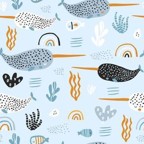 Undersea  narvals dreamy pattern