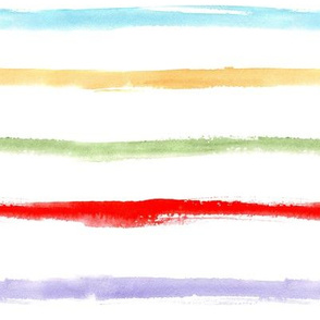 Colorful watercolor stripes ★ painted rainbow brush stroke horizontal stripes for modern nursery, home decor, bedding