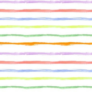 Watercolor rainbow stripes ★ painted horizontal stripes for modern home decor, bedding, nursery