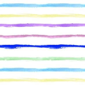 Watercolor rainbow painted stripes ★ minimal fresh horizontal stripes for modern home decor, bedding, nursery