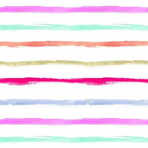 Watercolor stripes in pink, blue, aqua for modern minimal baby girl's nursery