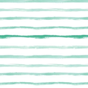 Soft emerald watercolor brush stroke stripes - painted horizontal stripes for modern minimal home decor, bedding, nursery
