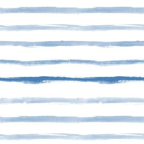 Blue watercolor painted stripes for modern home decor, bedding, nursery