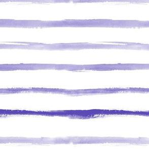 Amethyst watercolor brush stroke stripes - purple painted horizontal stripes