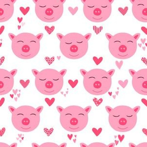 Pig Love Little Pink Pigs Hearts