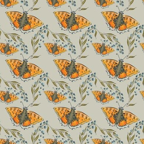Orange butterflies with blossoms