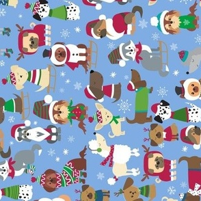 Rotated Winter holiday Christmas Dogs