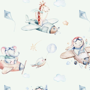 Watercolor baby boy, giraffe, bird and elephant cartoon cute animal pilot 2