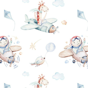 Watercolor baby boy and giraffe cartoon cute animal pilot